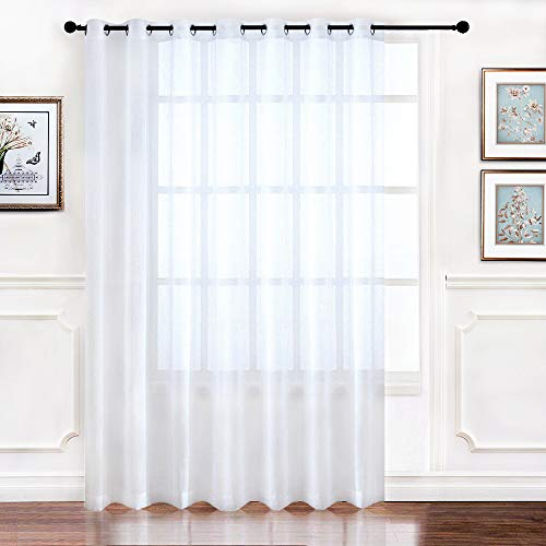 RYB HOME Extra Wide Sheer Window Curtains for Sliding Glass Patio Door, Light Glare Filter Grommet Curtain Vertical Voile Drape for Living Room, White, Width 100 x Length 84, 1 Panel