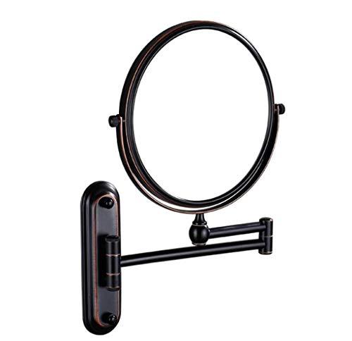 Miroir cosmétique Miroir de courtoisie extensible et miroir de maquillage rotatif pliant à grossissement 3x Miroir de maquillage double face pivotant à 360 ° (Color : Black, Size : 8 inch)