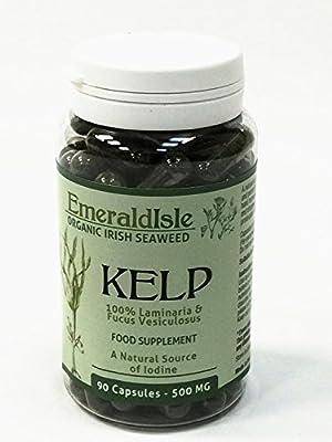 Kelp seaweed tablets 500 mg 90 Capsules Certified Organic Harvested in North Atlantic Coast of Ireland by emeraldisleseaweed