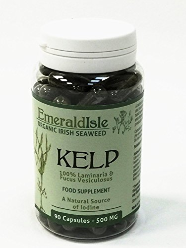Kelp Seaweed Tablets 500 mg 90 Capsules Certified Organic Harvested in North Atlantic Coast of Ireland