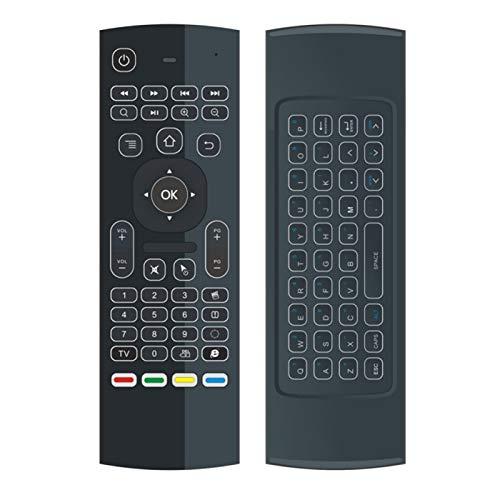 asfasfd Yajie-RC, Teclado inalámbrico Ajuste para la Caja de TV Android X96 Mini KM9 A95X H96 MAX Backlit Air Mouse Control Remoto Inteligente 2.4G RF (Color : Negro)