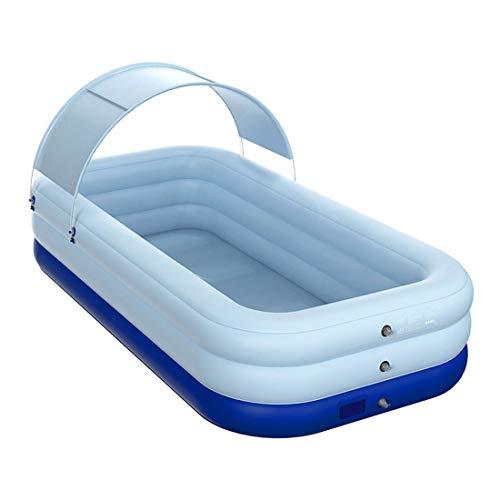 Piscina infantil hinchable automática con cubierta, 2,6 m, color azul, azul