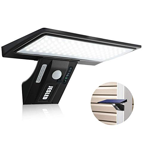 JESLED Luz Solar Exterior 90 LED, Carga solar y USB, Foco Solar Potente con Sensor de Movimiento,Impermeable con 3 Modos Inteligentes para Jardín, Patio, Camino, Escalera. (Pack de 1)