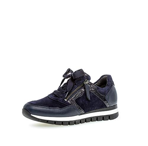 Gabor Damen Sneaker, Frauen Low-Top Sneaker,Comfort-Mehrweite,Reißverschluss,Optifit- Wechselfußbett, Freizeitschuhe,Marine/Nightblue,40 EU / 6.5 UK