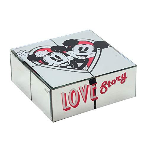 Porta Joia espelhado Love Story Minnie e Mickey Disney