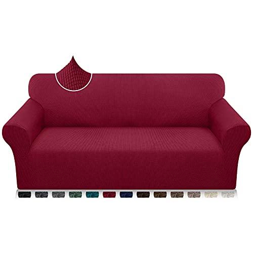 Luxurlife - Fundas de sofá de 4 plazas, ultra suaves, extra grandes, fundas de sofá para perros y niños Jacquard Spandex Protector de muebles con parte inferior elástica (4 plazas, rojo vino)