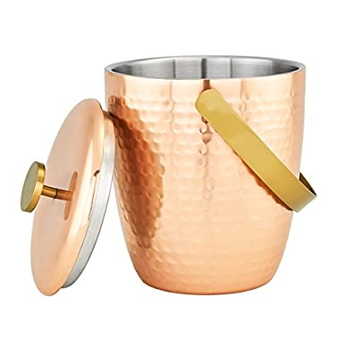 """""""Aura"""" Hammered Copper Double Walled Ice Bucket, 2⅓ Qt."""