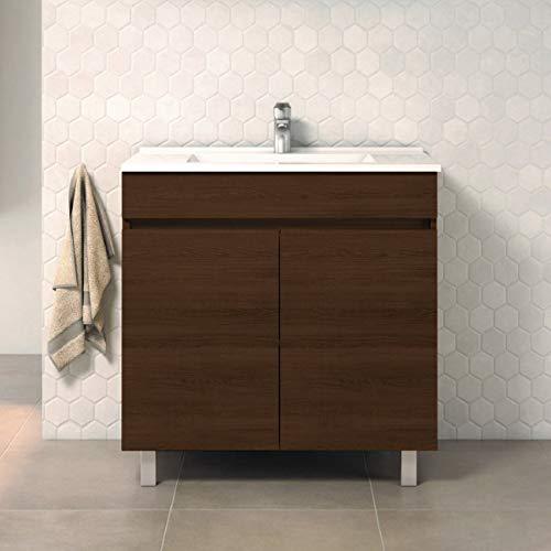 CTESI Mueble de baño con Lavabo de Porcelana - con 2 Puertas - El Mueble va MONTADO - Modelo Luup (80 cms, Tea)