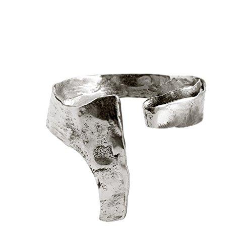Roberto Leonardi Armreif NYA, col. Silber - Zeitloses Design aus Messing mit Echtsilber-Plattierung in Altsilber-Optik