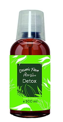 Concentré de Jus d'Aloe Vera Bio Détox Force maximale et bon goût, Bouteille en Cristal ou Jerrican avec gobelet doseur de 30 ml/pompe distributrice (500 ml)