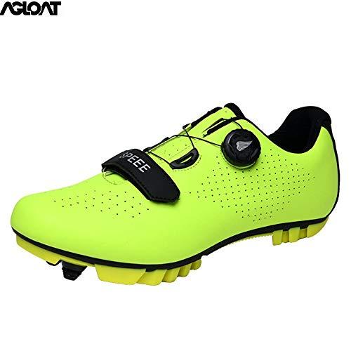 PIAOL Zapatillas De Senderismo para Hombre,Transpirable Calzado De Ciclismo para Hombre Antideslizantes Zapatilla MTB,Green-46