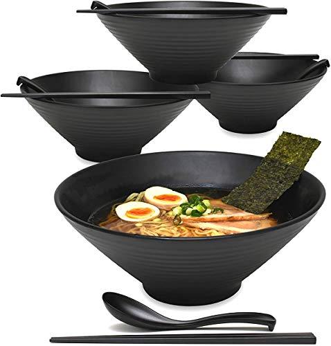 4 Sets (12 Stück) 1,6 l große japanische Ramen-Nudel-Suppenschüssel, Melamin, Hartplastik, Geschirr-Set mit passendem Löffel und Stäbchen für Udon Soba Pho asiatische Nudeln (4, schwarz, 22,9 cm)
