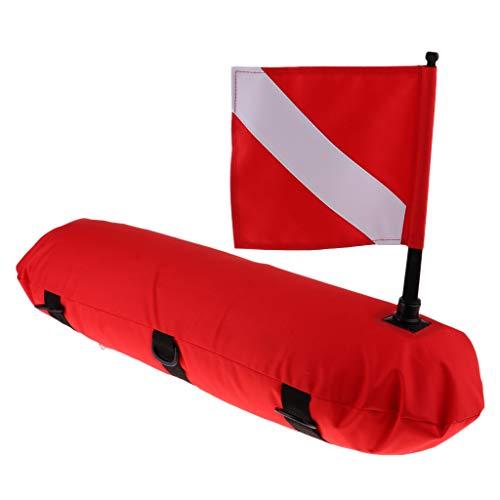 IPOTCH Boya Flotante de Señal con Bandera de Buceo, Accesorio para Equipo de Buceo, Pesca Submarina