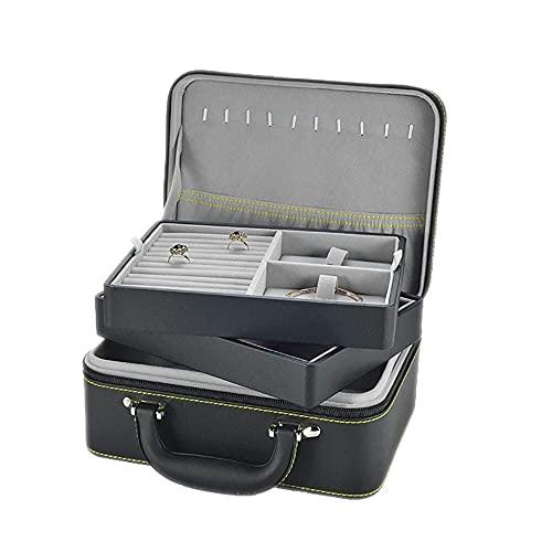 JIANGCJ Bella Mini Caja de joyería de Cuero Organizador de 2 Capas Joyas de Gran Capacidad de 2 Capas para Anillo Collar Pendientes Trinket Caja