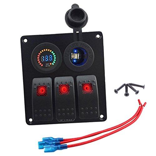 MagiDeal Panneau Interrupteur à Bascule 12V + Voltmètre LED + Allume Cigare avec Support d'Installation pour Auto Bateau Yatch Voiture Camion