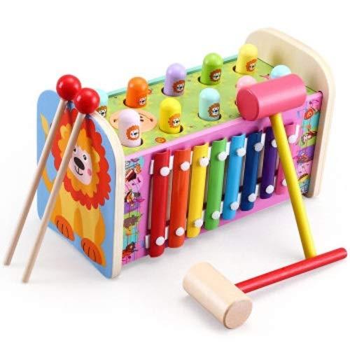 Lihgfw Jungen und Mädchen doppelt Holz Hämmer Spielen Gophers Angeln Babyspielzeug Hand Hand, die musikalische Instrumente tippt (Color : Multi-Colored)