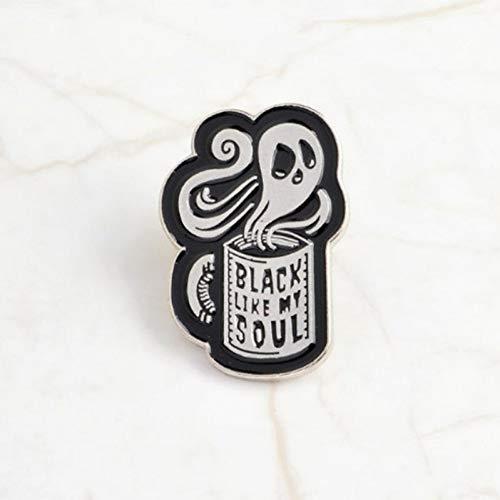 WYLBQM Broche Kreative Magie Brosche Black Bat Evil Eye Magie Buch Dark Soul Devil Kaffeetasse Abzeichen Gothic Button Punk Zubehör