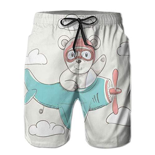 Men's Big and Tall Swim Trunks Beachwear Drawstring Summer Holiday,Adventurous Funny Child Bear Flying in The Sky on A Plane Cheerful Cartoon,Medium,3D Print Shorts Pants