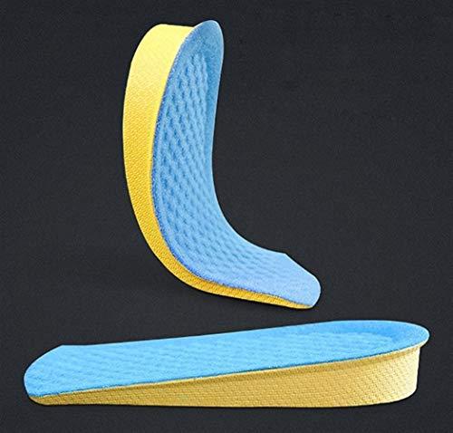 Espuma Plantillas aumento de la altura del amortiguador de la altura de elevación del talón del zapato ajustable Insertar Taller invisiable Media plantilla cojines del pie Memoria ( Color : Blue )