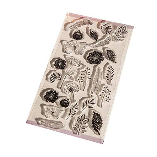 Hoja de sellos de silicona transparente Scrapbooking Estampado en relieve Sellado transparente para bricolaje Álbum de fotos Papel Tarjeta de cuaderno Fabricación Flores y mariposas y hojas