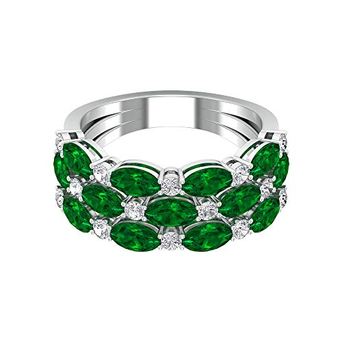 Rosec Jewels 10 quilates oro amarillo ovalada Round Brilliant Green Moissanite Esmeralda creada en laboratorio.