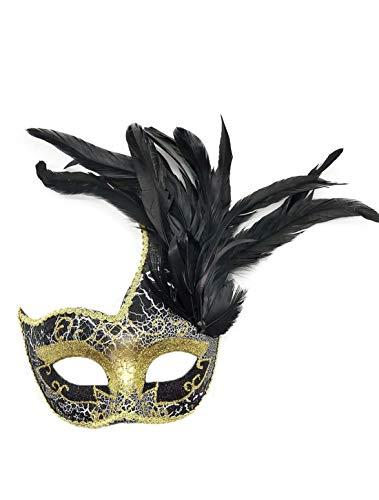Flywife Feder Maskerade Masken Halloween Mardi Gras Karneval Maske Kostüme Venezianisch Party Masken (Schwarz)