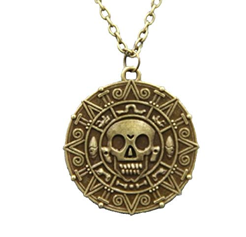 fashionjewellery4u - Ciondolo a forma di teschio con medaglione in bronzo antico, motivo: pirati dei Caraibi, per uomo e donna