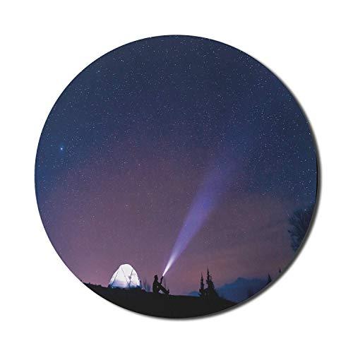 Starry Forest Computer-Mauspad, Camping Adventurous Photo Man sitzt neben dem Zelt und schaut in den Himmel, Rechteck rutschfestes Gummi-Mousepad groß, 31 'x 12' Spielgröße, Anthrazitgrauer Quarz