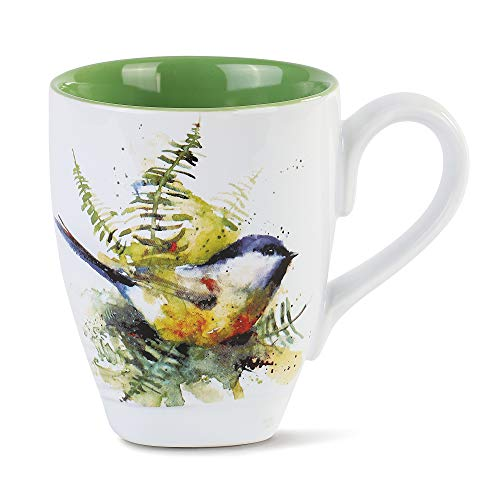 Dean Crouser Spring Chickadee Watercolor Green 16 ounce Glossy Ceramic Stoneware Mug