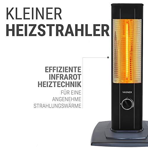 VASNER StandLine Mini 12 Infrarot Standheizstrahler 1200 Watt mit Abdeckhaube, Thermostat, Carbon Standstrahler Standheizung Standgerät - 8