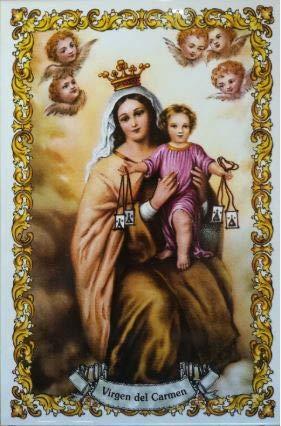 Virgen del Carmen. Azulejo fabricado artesanalmente para decorar. Cerámica para colgar. Calca cerámica (20x30 cms)