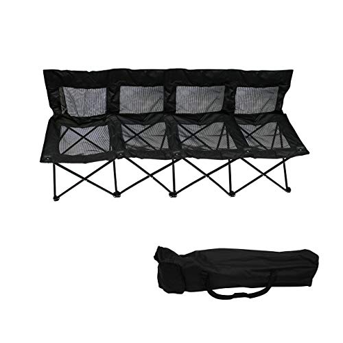4 Seater with Back Trademark Innovations 4-Person Folding Sports Sideline Bench