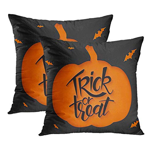 Y·JIANG Halloween Quote Cushion Cover, Black Sheet Clipped Pumpkin Halloween Greetings Quote Trick Or Treat Bats Soft Velvet Cushion Case Couch Cover Pillowcase for Sofa Chair Bedroom, 18' x 18', 2PCS