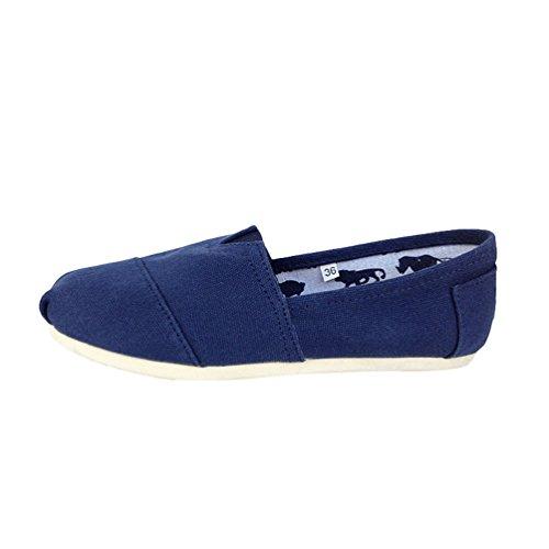 Dooxi Unisex-Erwachsene Freizeit Loafers Comfort Espadrilles Mode Einfarbig Slip on Flach Freizeitschuhe Blau 41(25.5cm)