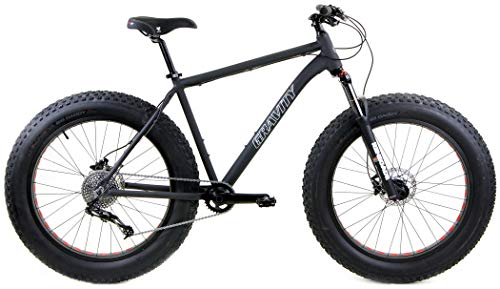 Gravity Bullseye Monster Five X FS Aluminum Fat Bike with Powerful Disc Brakes Gravity Monster Mens Fat Tire Bicycle 26' x 4.9' (Matt Black, 14' fits Most 5'5' to 5'8')