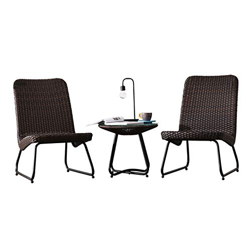 Wicker Patio Furniture Set With Side Table And Outdoor Chairs, Outdoor Leisure Creative Coffee Table Garden Courtyardtable And Chair Combination (Size : 1x coffee table+2x wicker chair)