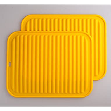 Smithcraft Silicone Trivets Mat Set 9 X12  Big Place Mat, Hot Pads, Kitchen Table Mat - Waterproof, (Set of 2) Non Slip, Flexible, Durable, Dishwasher Safe Color Yellow