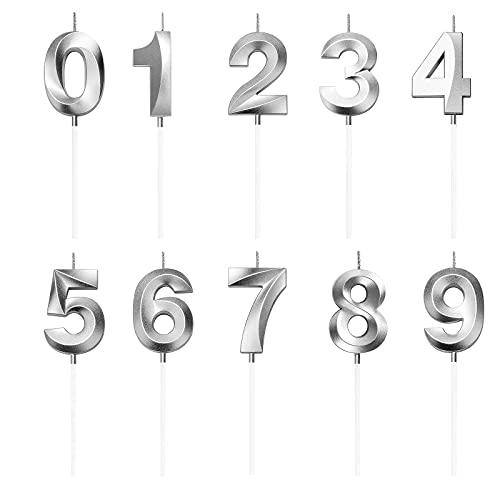LUOHONG Zahlen Geburtstagskerzen, Silber Zahlen 0 1 2 3 4 5 6 7 8 9 Kerze für Torte Kerze...
