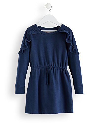 Amazon-Marke: RED WAGON Mädchen Sweatshirt-Kleid mit Rüschendetails, Blau (Navy), 104, Label:4 Years