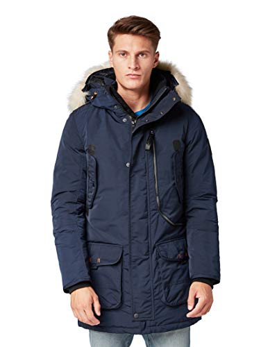 TOM TAILOR Herren Jacken Parka mit Kapuze Sky Captain Blue,S