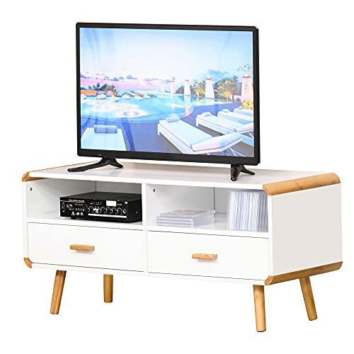 HOMCOM TV Schrank Lowboard Fernsehtisch Fernsehschrank Kleiner als 46'' mit 2 Schubladen und Offene Regale Wohnzimmer Bambus MDF Weiß+Natur 100 x 40 x 48 cm