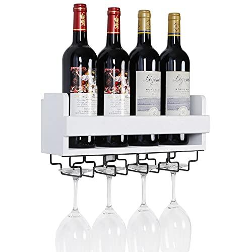 Satauko Estantería de Vino de Pared para Organizador de Cocina, Estante Flotante de Madera Organizador para 4 Vino Tinto Copas, Botelleros Vino Decoracion Accesorio para Sala de Estar. (Blanco)