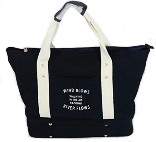 【WIND BLOWS】折りたたみ ボストンバッグ トートバッグ キャリーバッグ オン サブバッグ スーツケースの持ち手に通せる 大容量 折り畳み式 簡易 予備バッグとして大活躍 マリンスタイル (マチ付きトート, 【紺】)