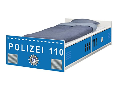 Stikkipix Polizei Möbelfolie | passend zum IKEA Kinderbett FLAXA | passgenaue Klebe-Folie für Schubkästen und Stirnseite | FLX02 | Möbel Nicht Inklusive