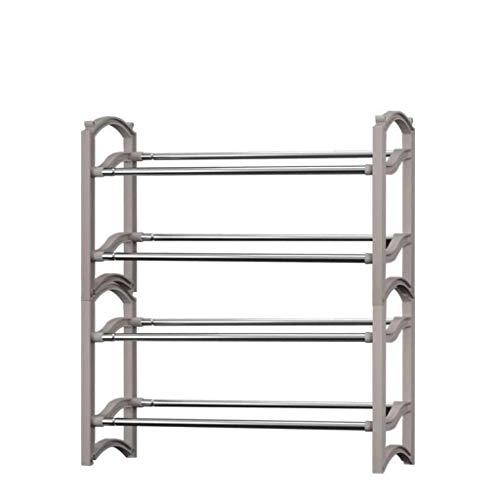 AOLI Estante de zapatos de metal de 2 niveles, estante de zapatos estable apilable Entrada Almacenamiento Almacenamiento de espacio de zapatos Soporte de zapatos Estirable Organizador-Blanco 58X22.5X