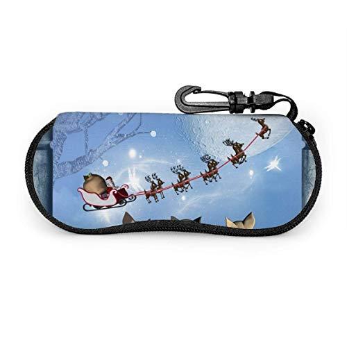 Lindo gato mirando a Santa Claus en el cielo Estuche de gafas de renderizado 3D Carcasa suave, estuche protector de neopreno ultra ligero para gafas y gafas de sol