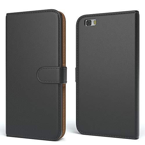 EAZY CASE Tasche kompatibel mit Huawei P8 Lite (2015) Schutzhülle mit Standfunktion Klapphülle im Bookstyle, Handytasche Handyhülle Flip Cover mit Magnetverschluss und Kartenfach, Kunstleder, Schwarz