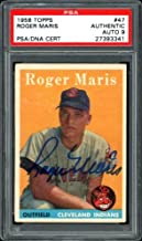 Roger Maris Autographed 1958 Topps Rookie Card #47 New York Yankees Mint 9 PSA/DNA #27393341