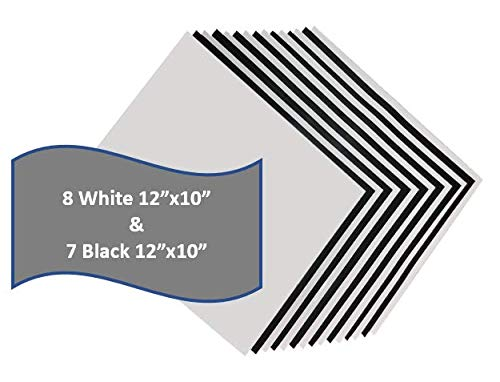 Heat Transfer Vinyl HTV 15 Pack 12' x 10' Sheets for Iron On T Shirts - Black and White Sheets for Silhouette Cameo Or Cricut - Heat Press Machine (Black & White)