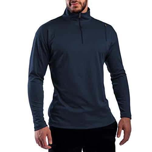 SCOTTeVEST Men's Qzip Athletic Travel Sweatshirt | 3 Pockets | Anti-Pickpocket Steel Blue